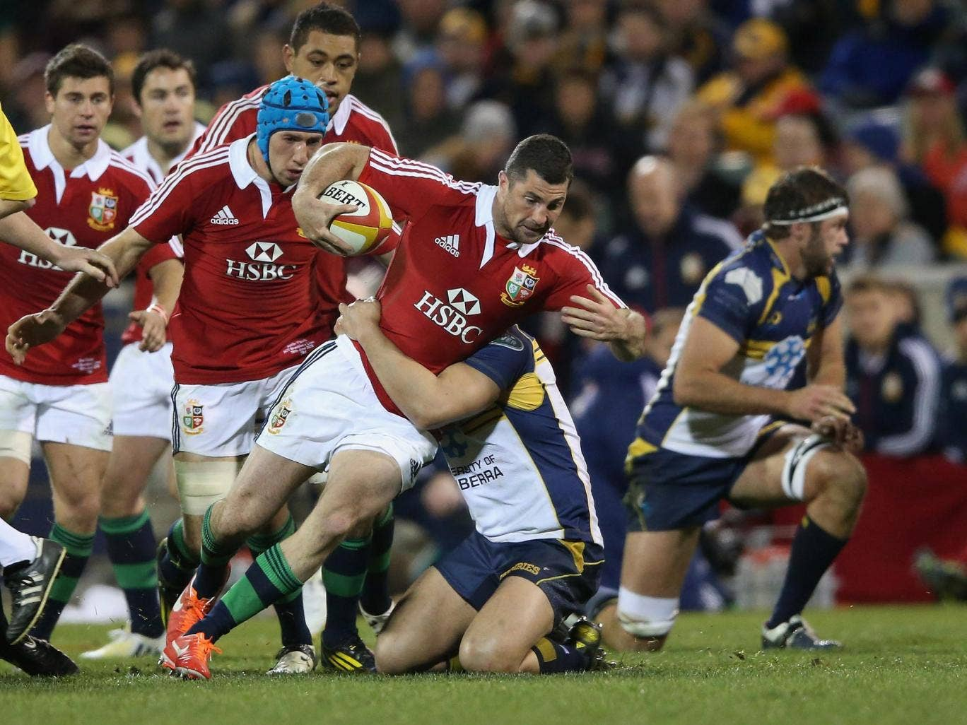 Rob Kearney of the Lions is tackled