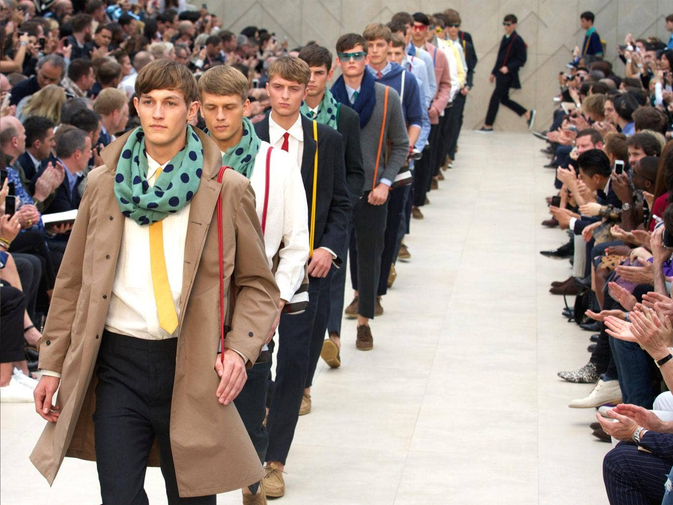 Models present creations by Burberry Prorsum during the Spring/Summer 2014 London Collections: Men fashion event in Kensington