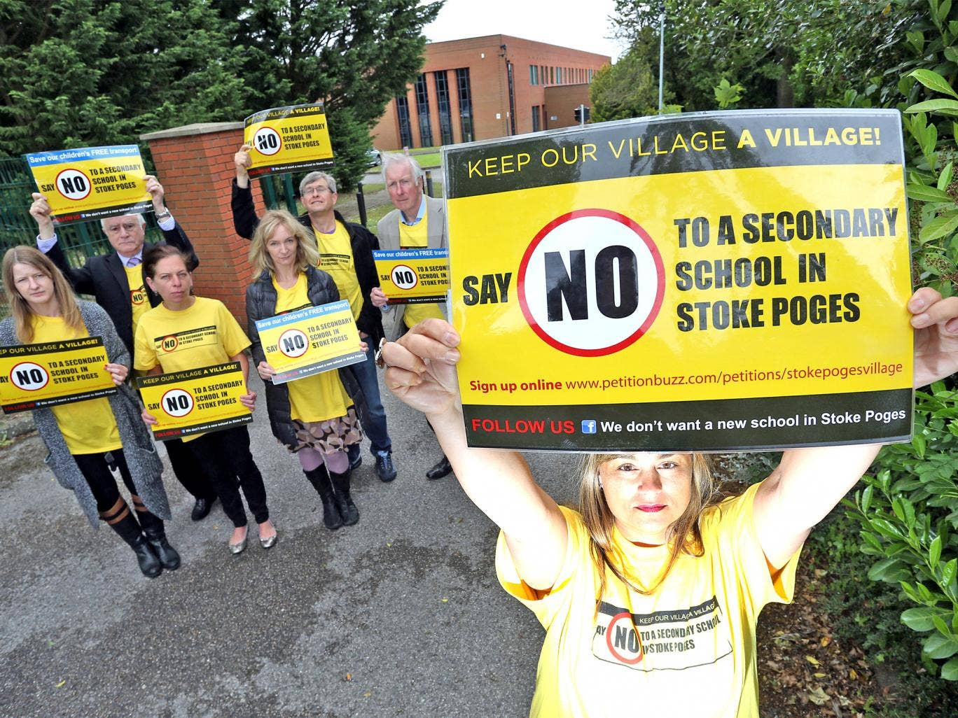 Villagers in Stoke Poges protest at the proposed site of a Sikh free school