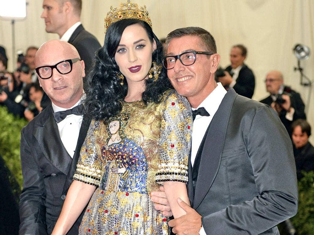 Domenico Dolce and Stefano Gabbana, pictured with pop star Katy Perry last month