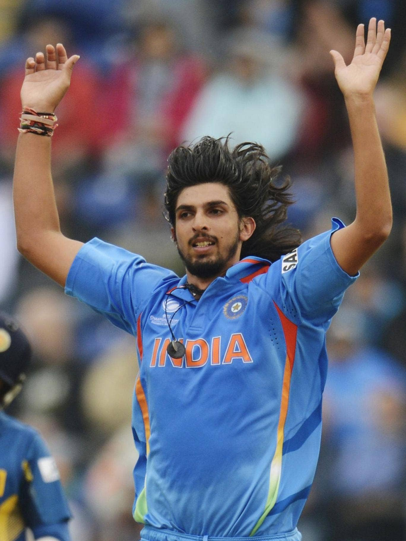 Man of the match Ishant Sharma celebrates one of his three wickets
