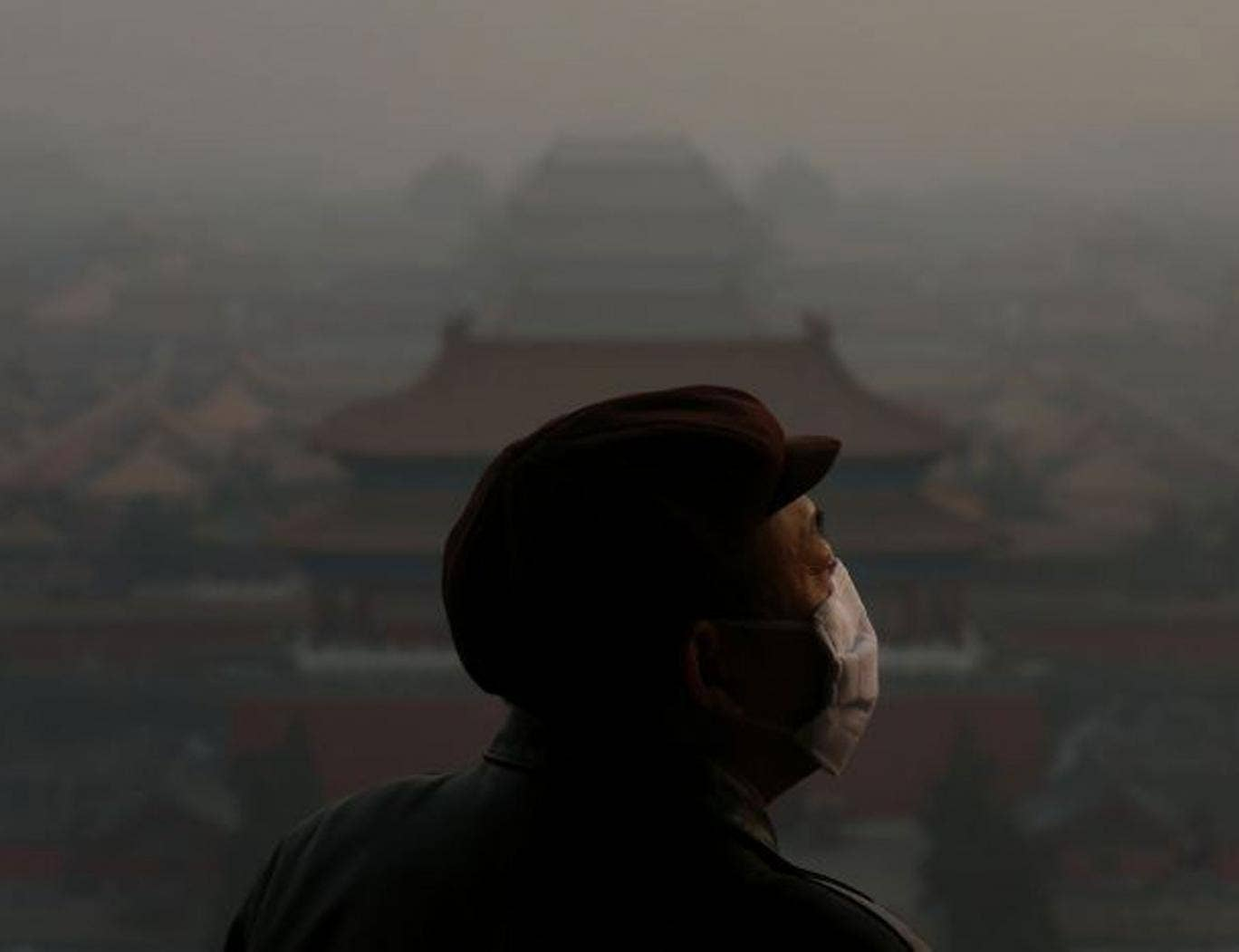 A tourist wearing the mask looks at the Forbidden City, Beijing