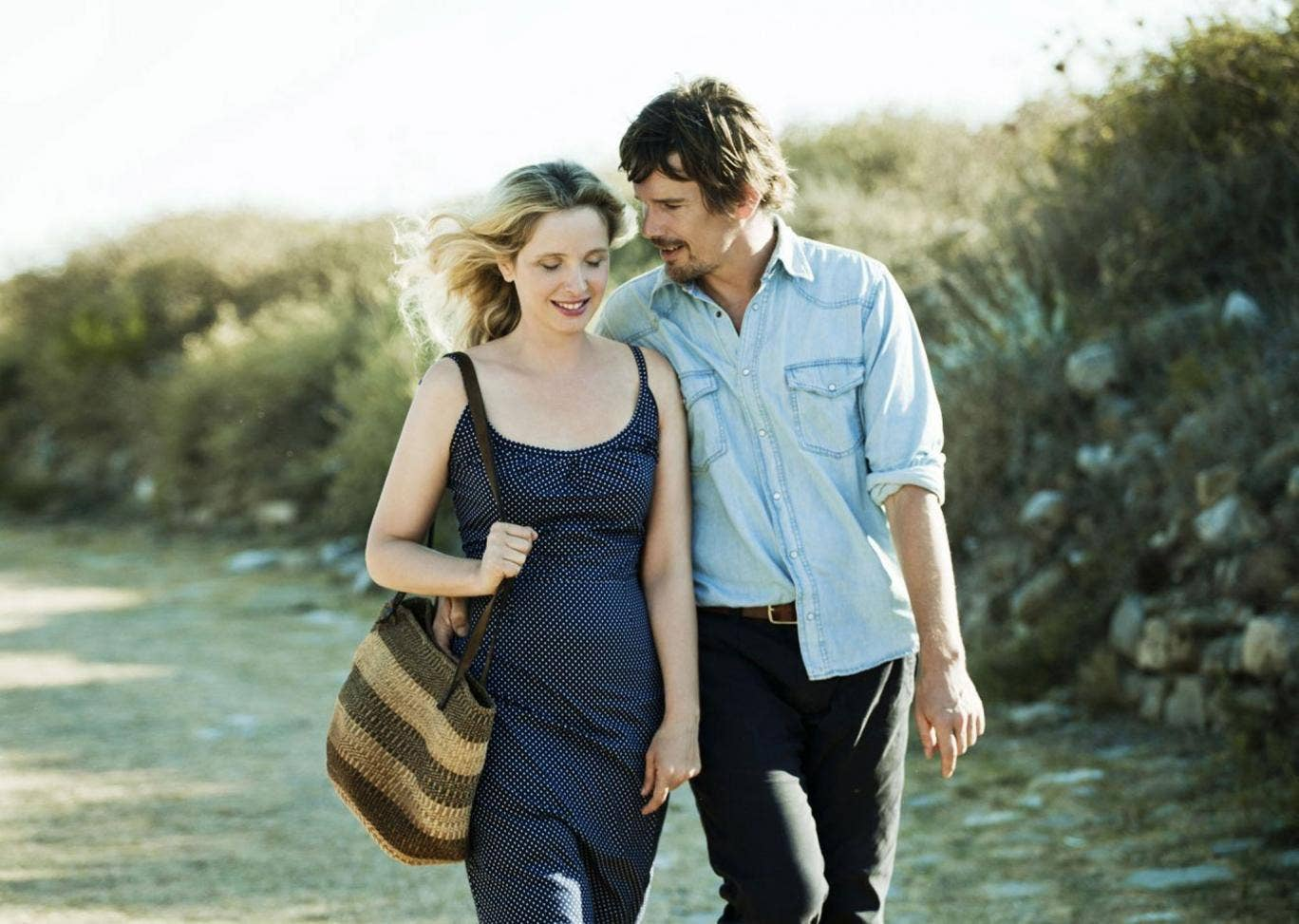 Walking and talking: Ethan Hawke and Julie Delpy star in Richard Linklater's drama 'Before Midnight'