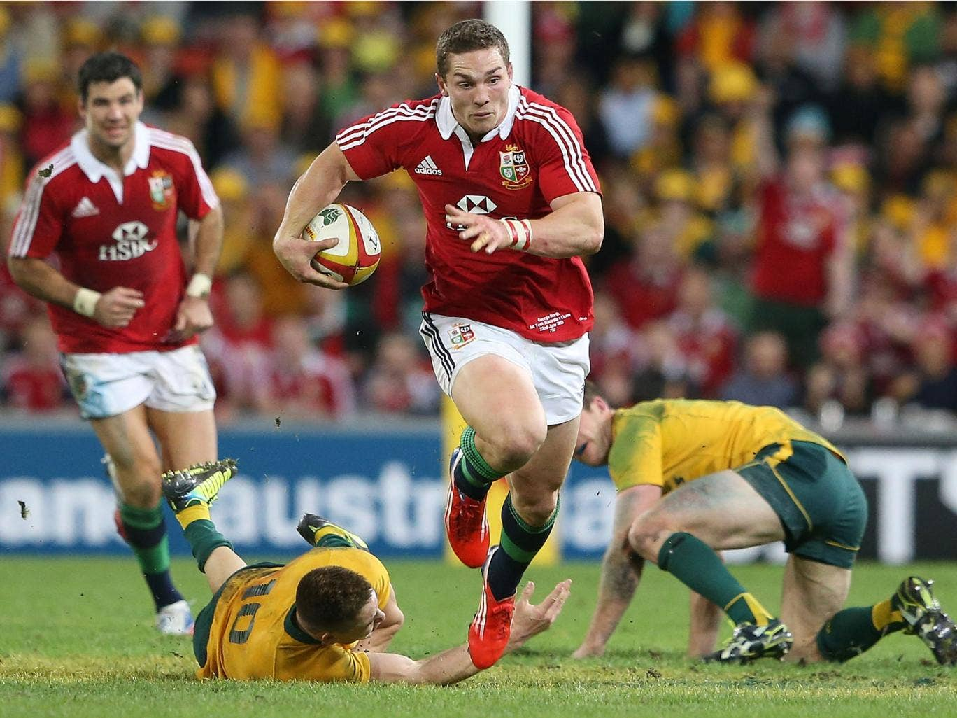 George North bursts through the Australian defence to score for the British and Irish Lions