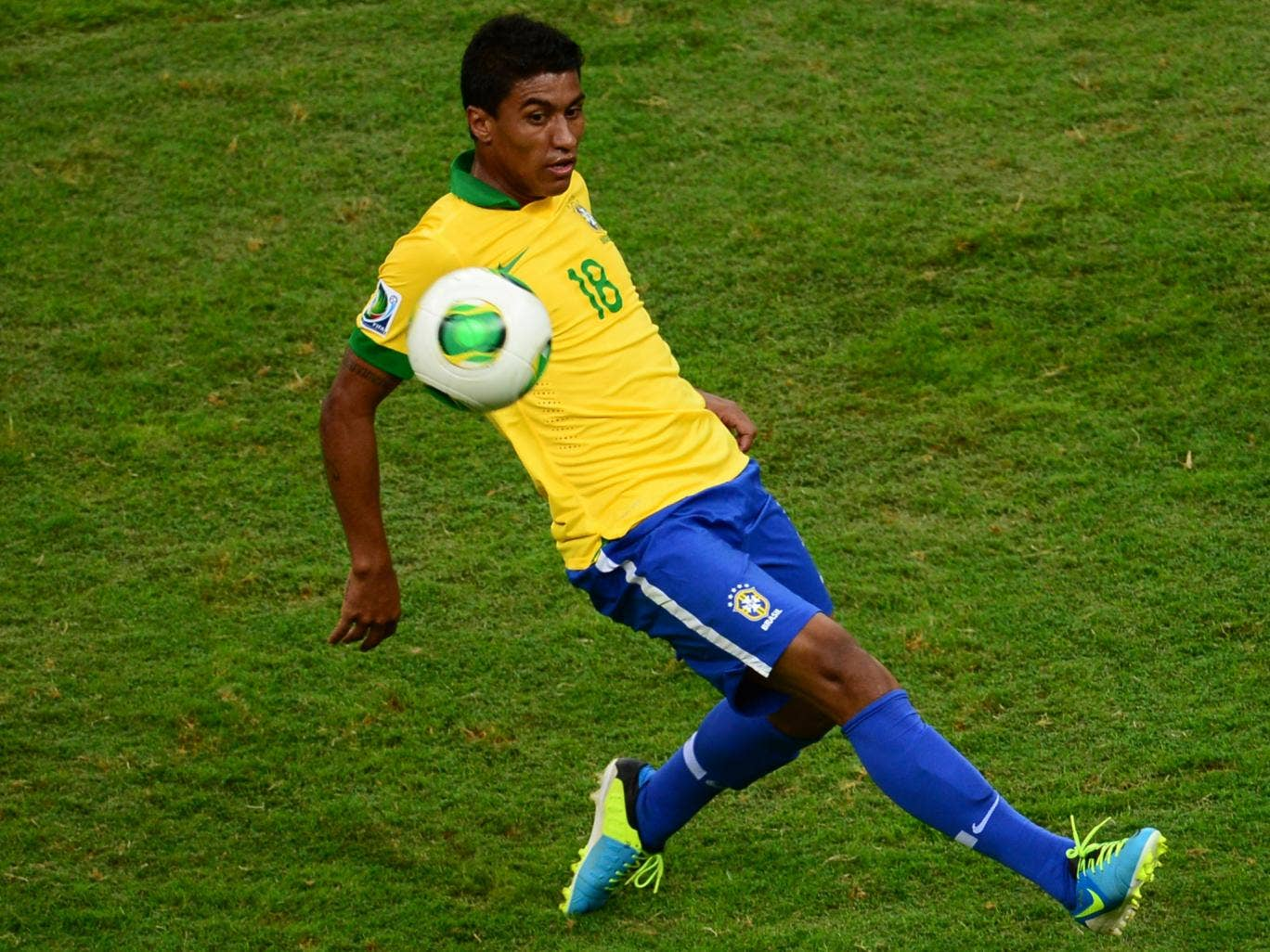 Brazilian midfielder in action for Brazil at the Confederations Cup