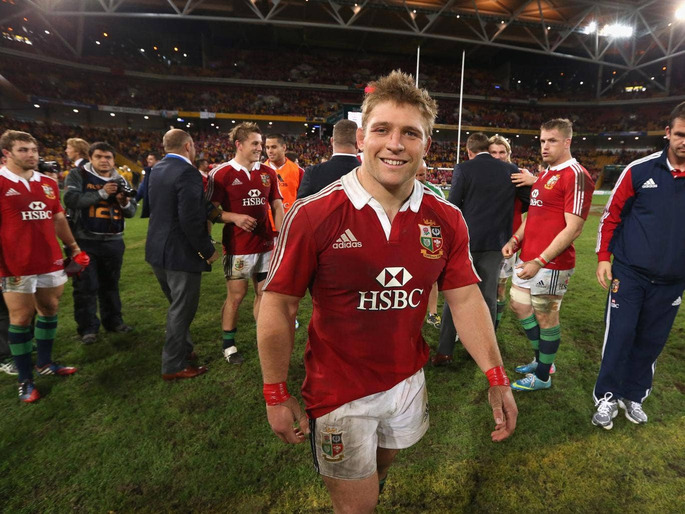 Tom Youngs celebrates after the LIons 23-21 victory over Australia