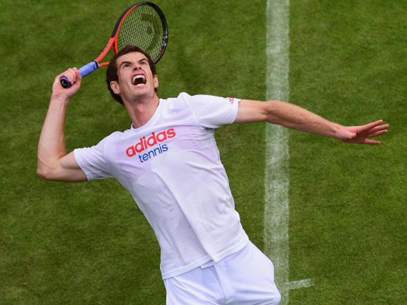 Andy Murray practises at Wimbledon before facing Benjamin Becker tomorrow
