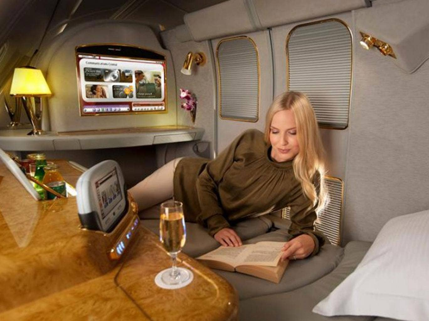 The new advert for the first-class private suites being offered by Emirates Air