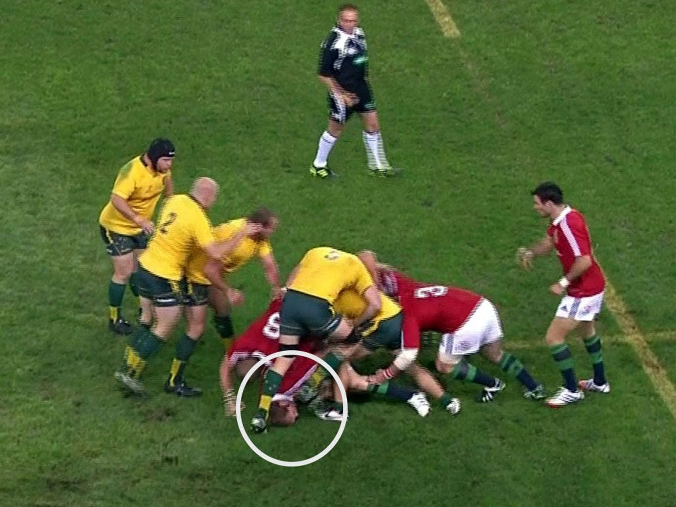 James Horwill's foot was said only to have glanced Alun Wyn Jones