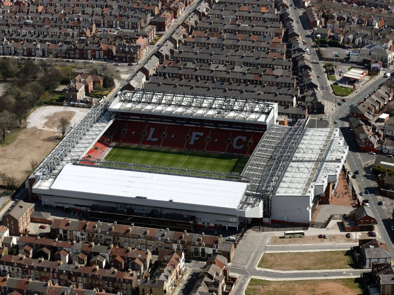 Liverpool's Anfield home is hemmed in by terraced streets