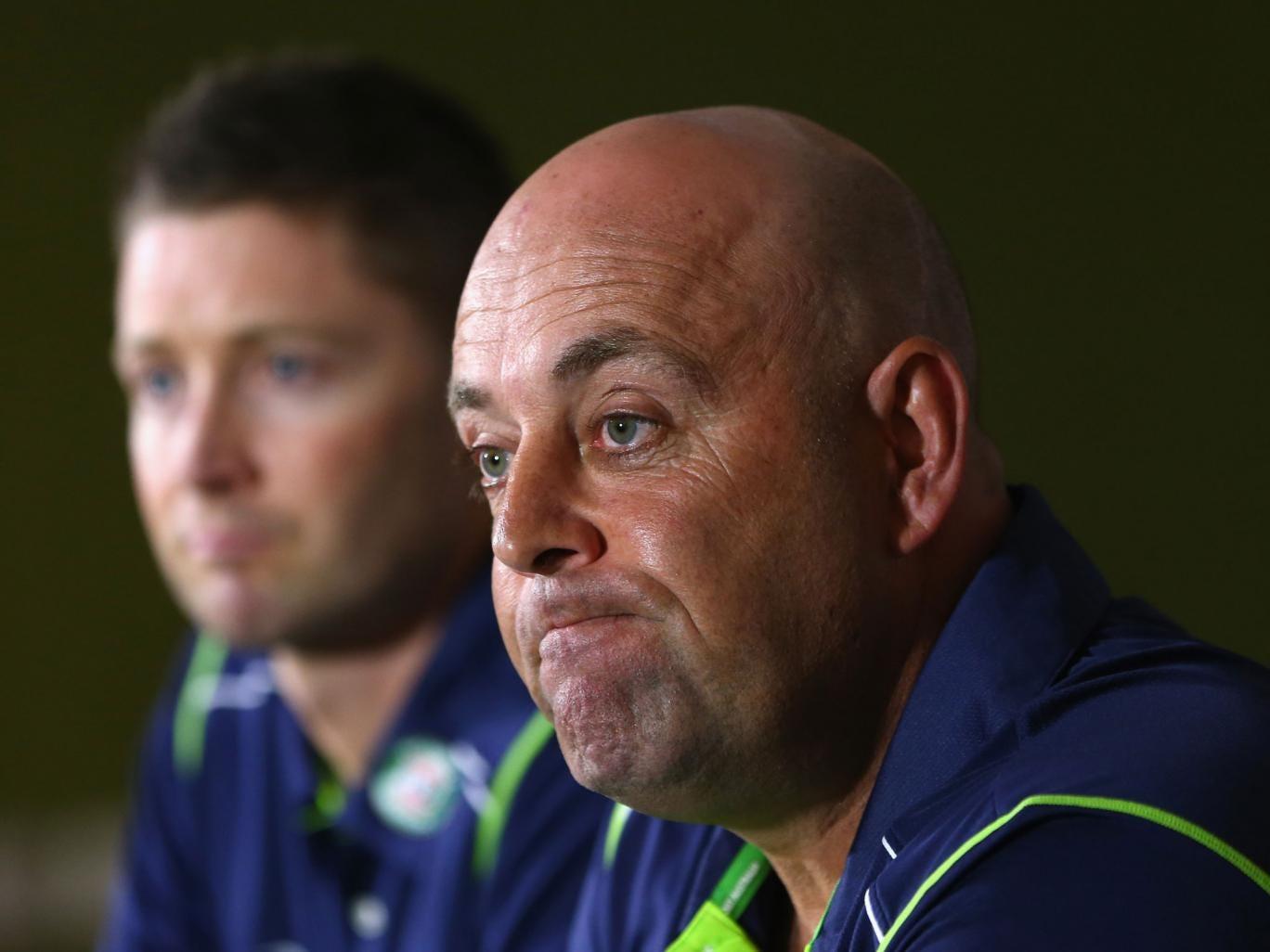 Australia's new coach, Darren Lehmann, (right) addresses the media alongside his captain, Michael Clarke (left)