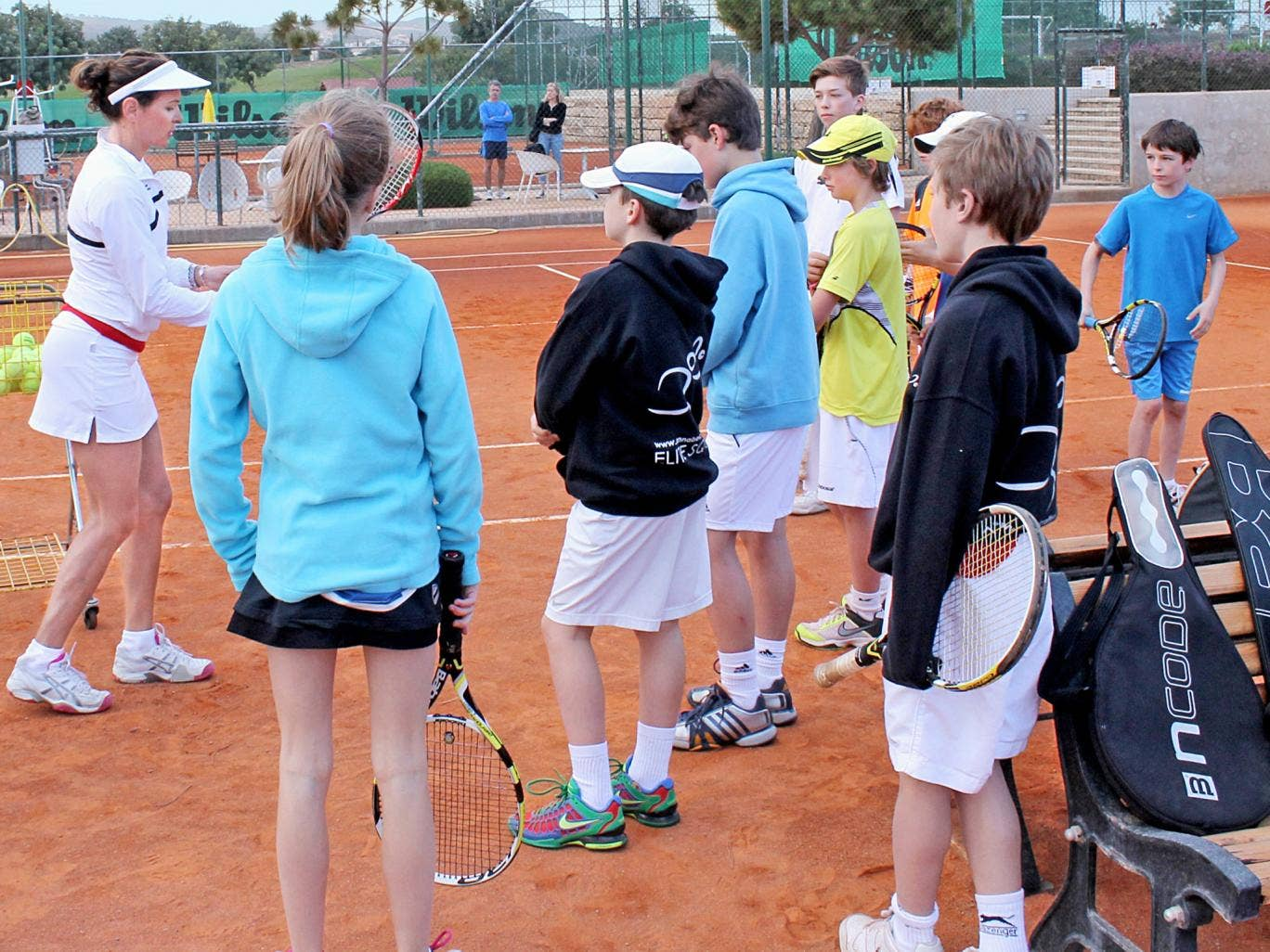 Smash hit: in training at the Annabel Croft Academy in Cyprus