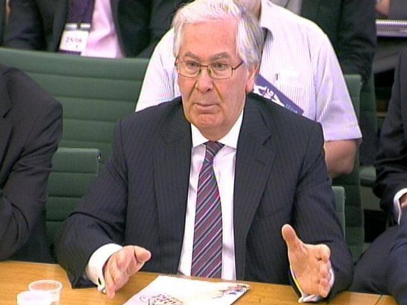 Governor of the Bank of England Mervyn King appears before the Treasury Select Committee at Portcullis House in London for the last time on 25 June 2013