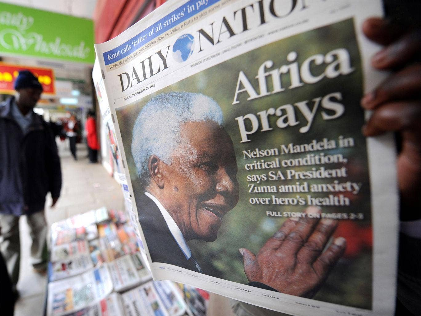 Africa prays: The front page of Kenya's 'Daily Nation'
