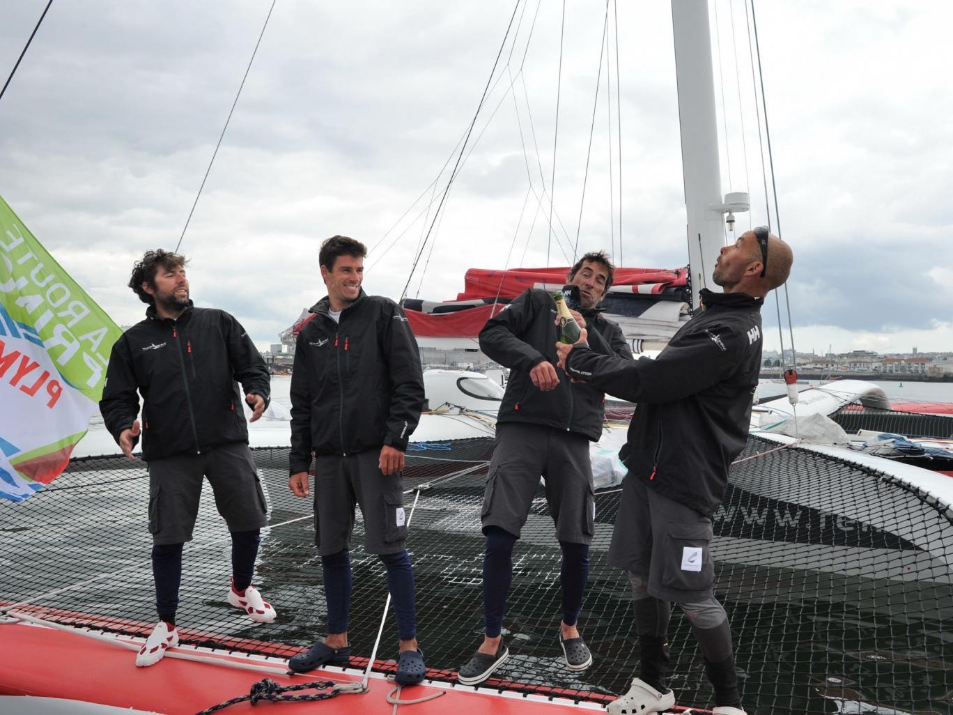 Sidney Gavignet celebrates leg victory with his crew