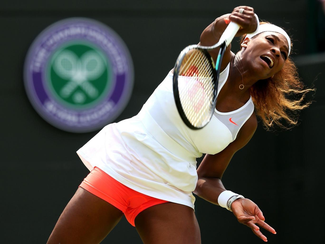 Serena Williams during her second round Wimbledon match with Caroline Garcia