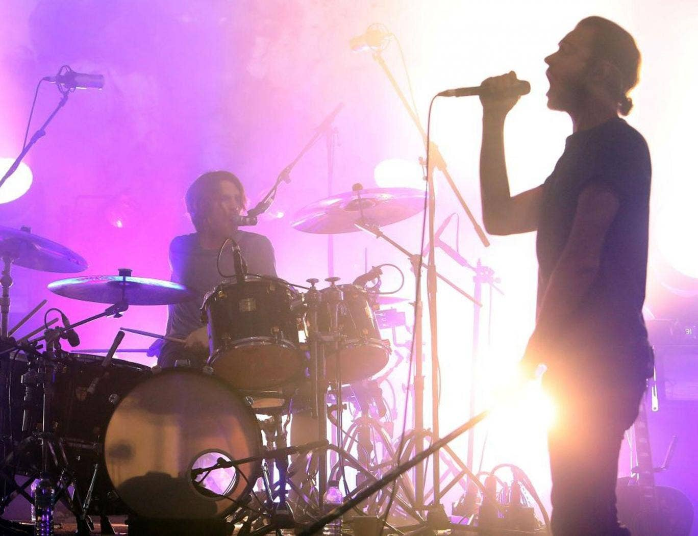 Full voice again: Tom Smith and drummer Ed Lay of Editors in rehearsal this month
