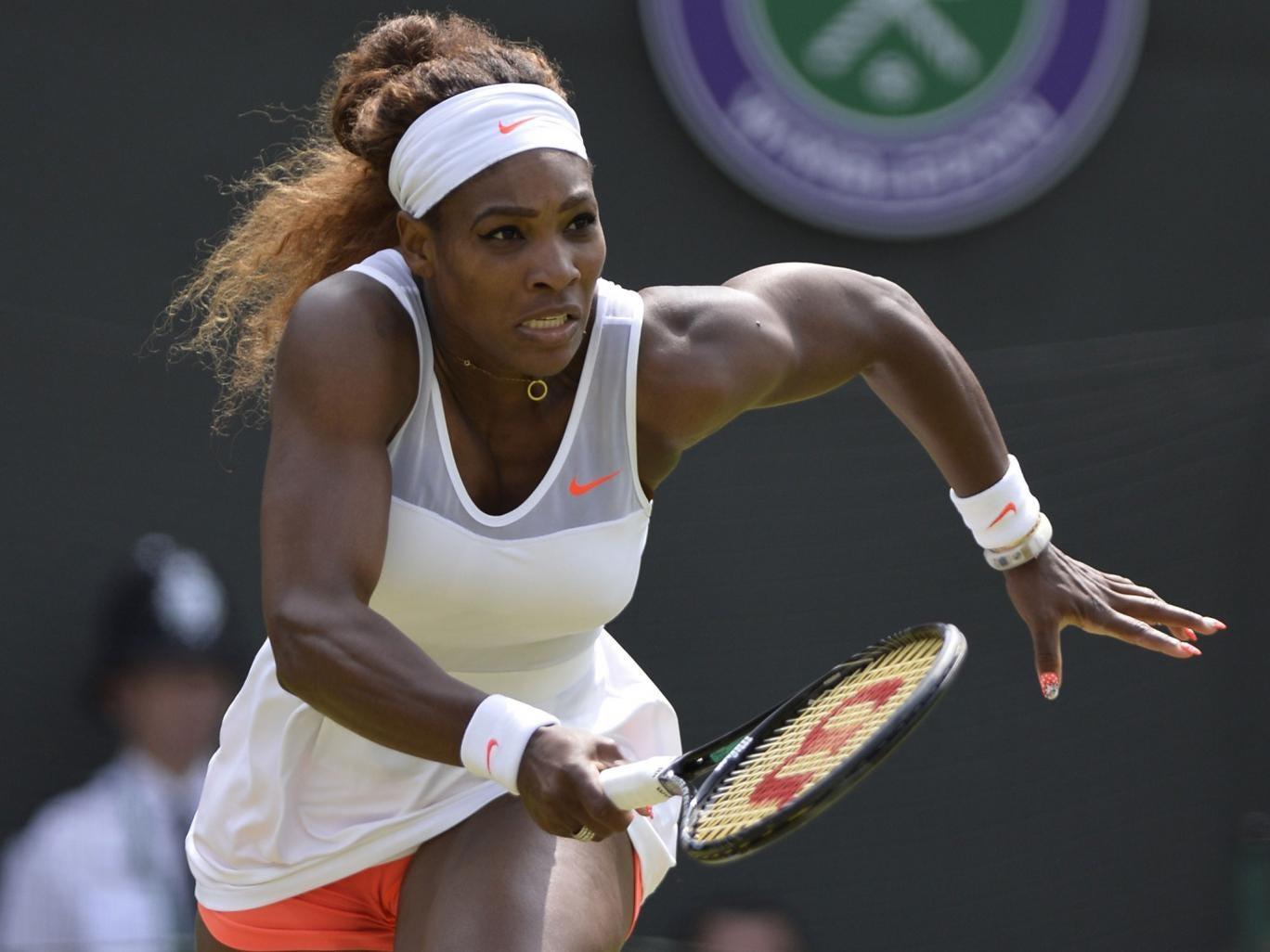 Serena Williams runs for a return against France's Caroline Garcia
