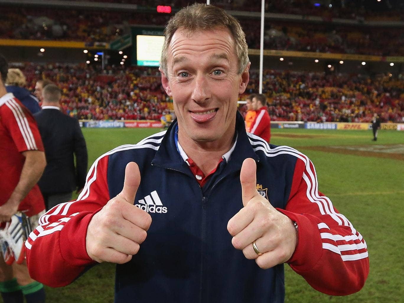 Rob Howley, the Lions attack coach, celebrating after their victory during the First Test match against the Australian Wallabies