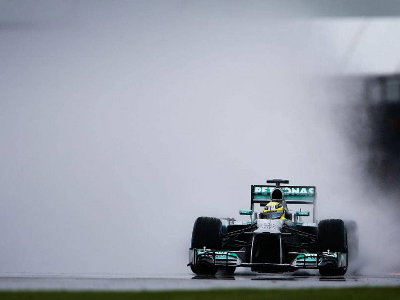 Nico Rosberg of Germany and Mercedes GP drives during practice for the British Formula One Grand Prix at Silverstone