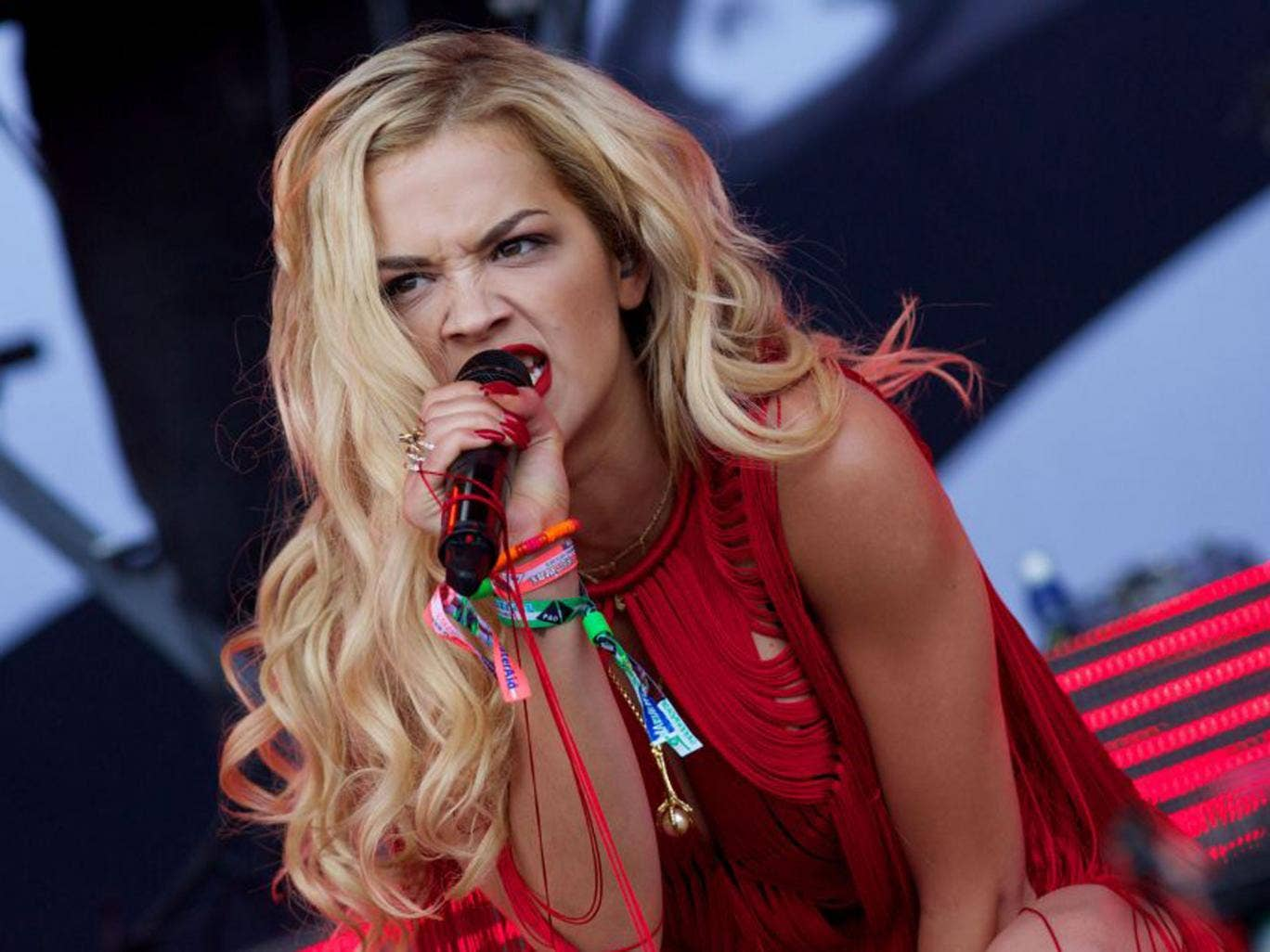 Rita Ora performing on the Pyramid Stage, at the Glastonbury Festival, at Worthy Farm in SomersetAFP