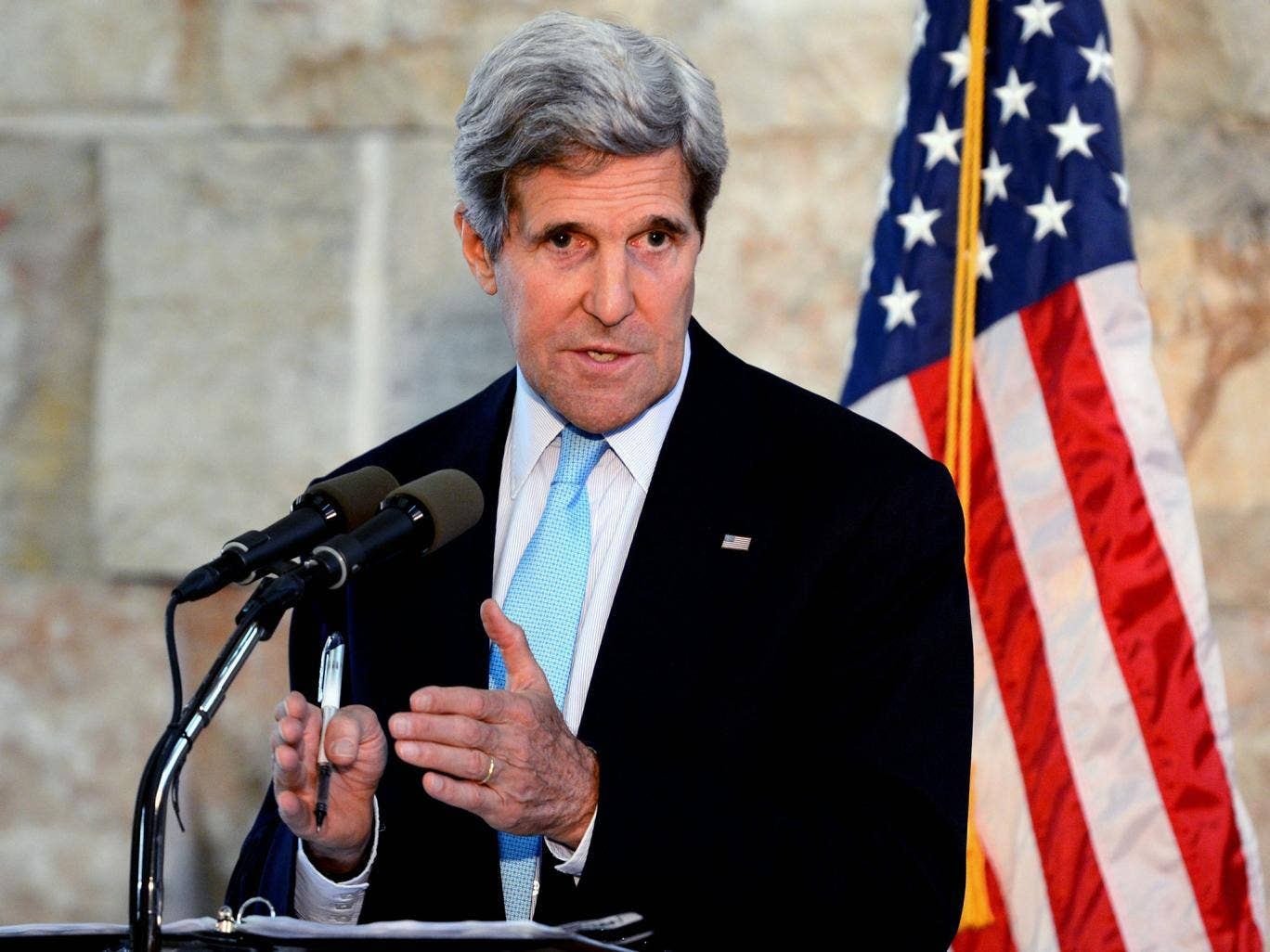US Secretary of State John Kerry during a press conference in Tel Aviv, Israel