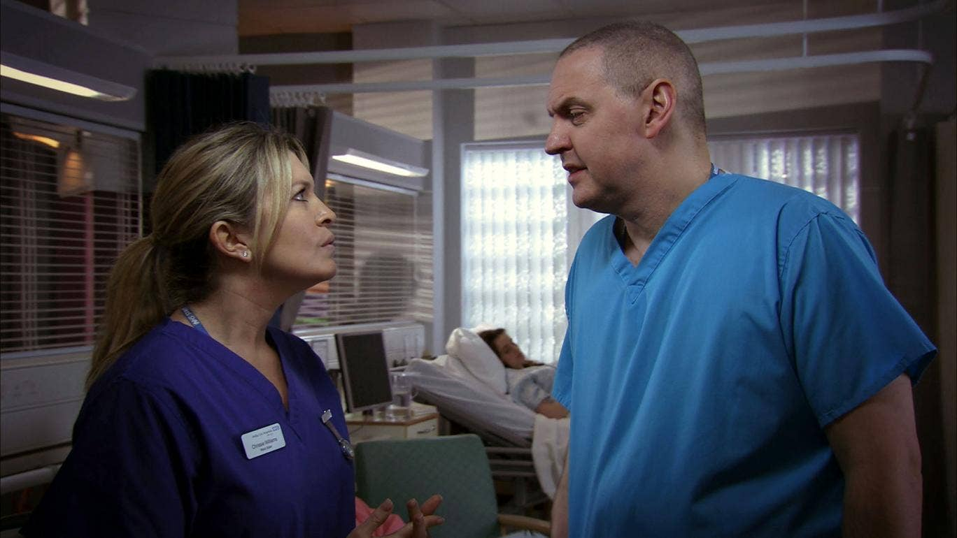 Chrissie Williams (Tina Hobley) with Sacha Levy (Bob Barrett). Hobley is to leave Holby City after a decade in the BBC hospital drama.