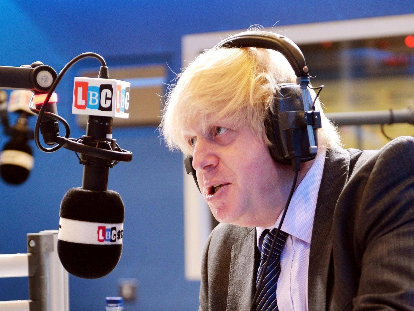 2 July 2013: The Mayor of London Boris Johnson responds during his appearance on the LBC 97.3 radio phone-in show, hosted by Nick Ferrari in the LBC studios in London. Boris Johnson could still reverse his decision not to seek a third term as London mayor