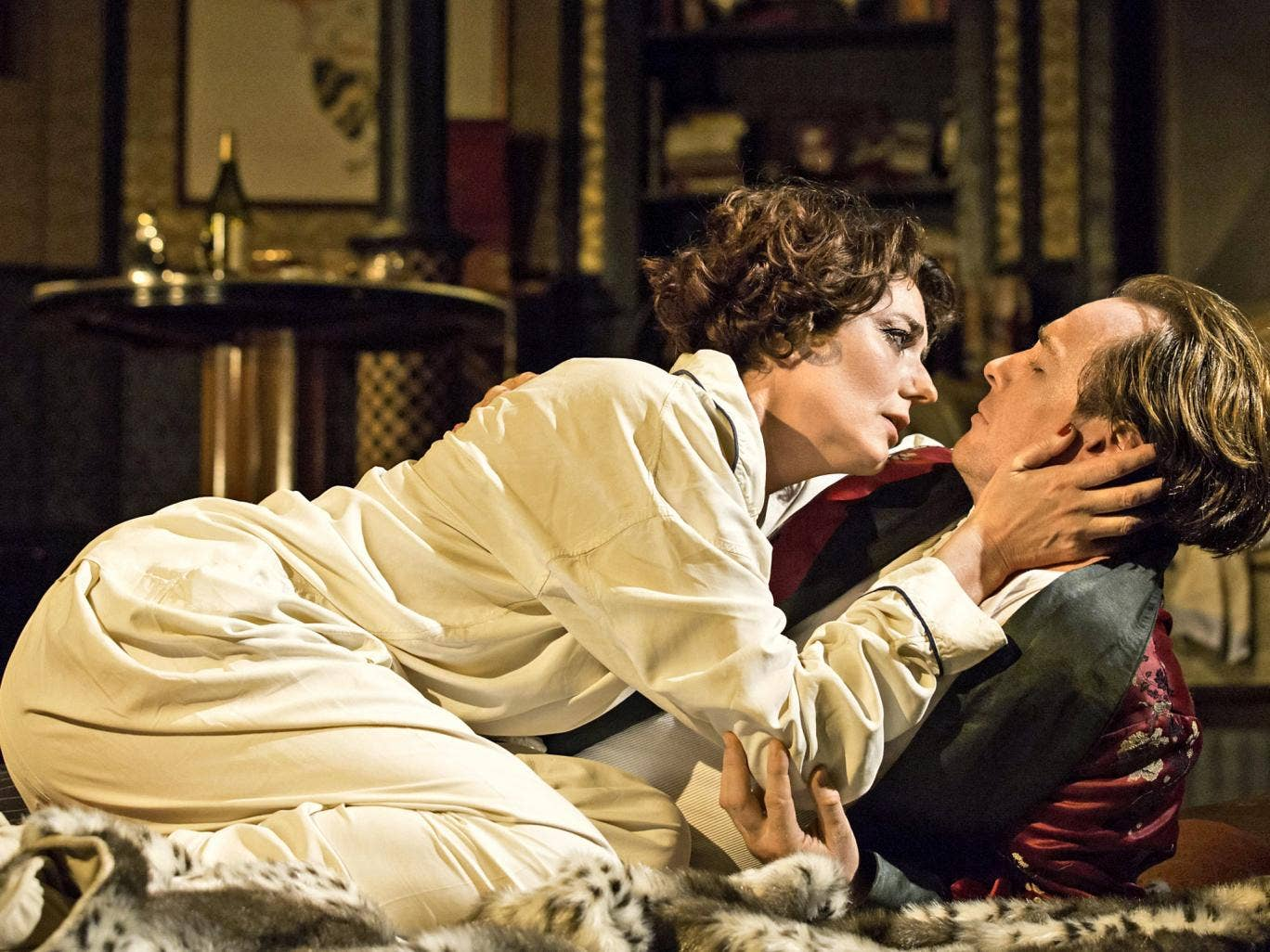 High spirits: Anna Chancellor and Toby Stephens in 'Private Lives' now running at the Gielgud Theatre