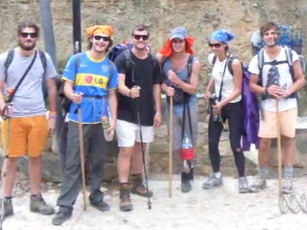 The six backpackers who have been accused of murder in Peru