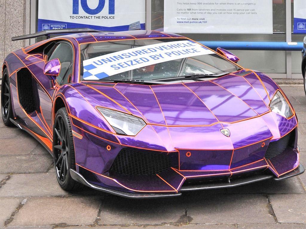 Lamborghini no mercy: The seized Lamborghini Aventador on display outside New Scotland Yard
