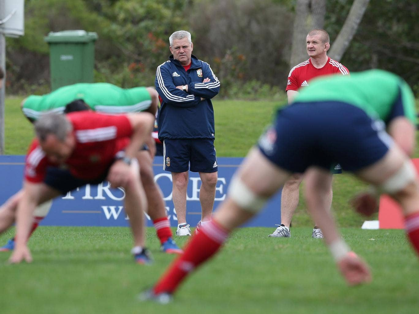 Warren Gatland looks on during a Lions training session