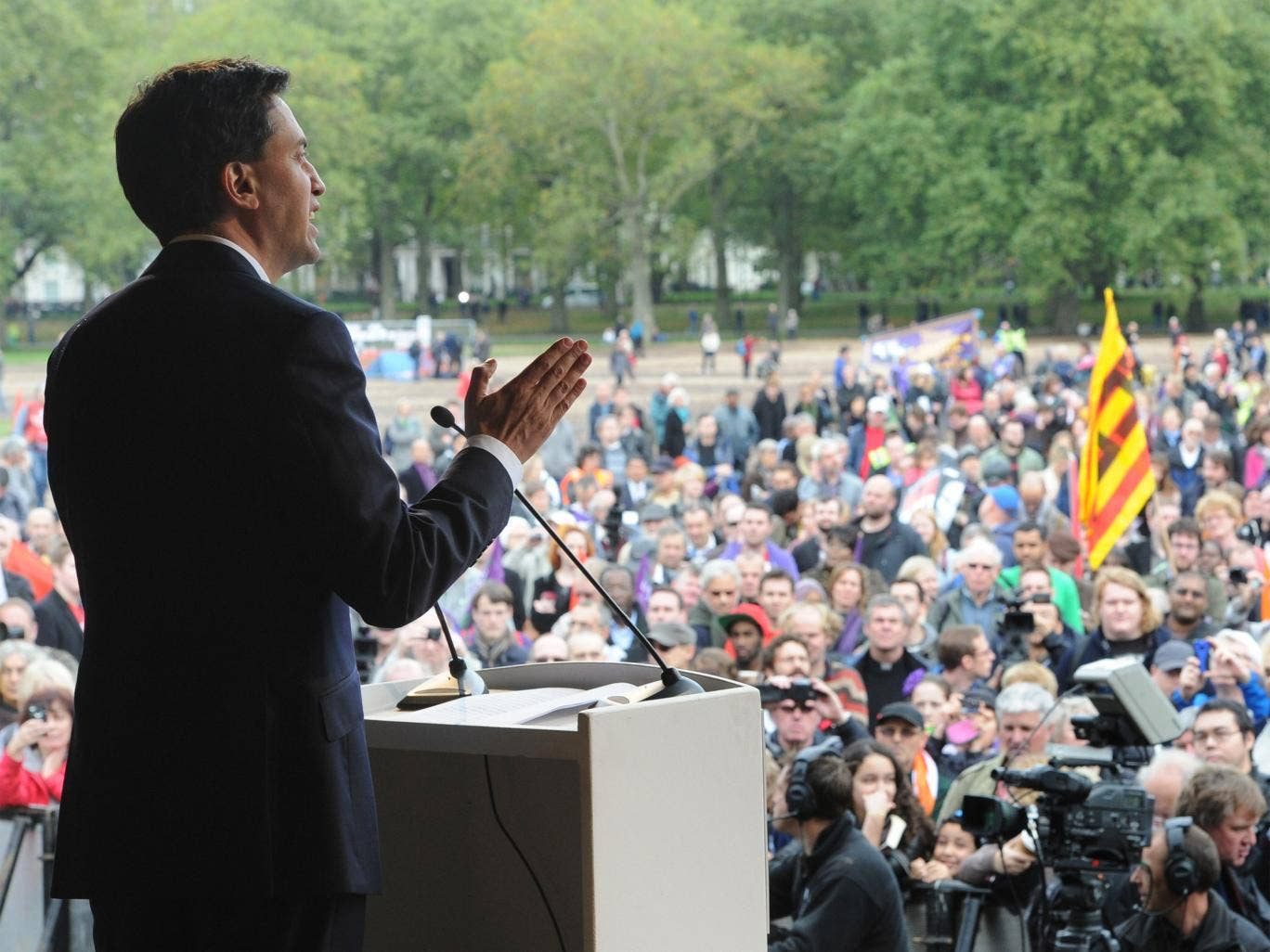 Ed Miliband addresses trade unionists at an anti-cuts rally in Hyde Park, central London, last October