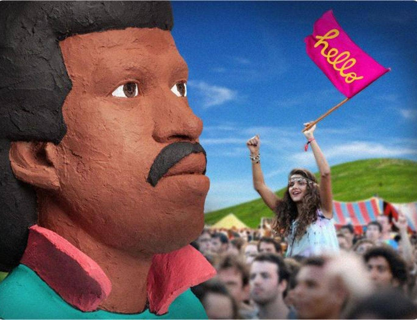 Bestival's giant inflatable Lionel Richie head