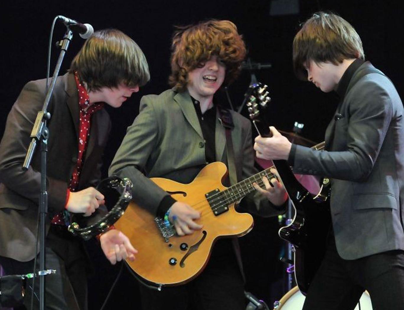 Ross Farrelly, Pete O'Hanlon and Josh McClorey of The Strypes perform on Glastonbury's John Peel stage