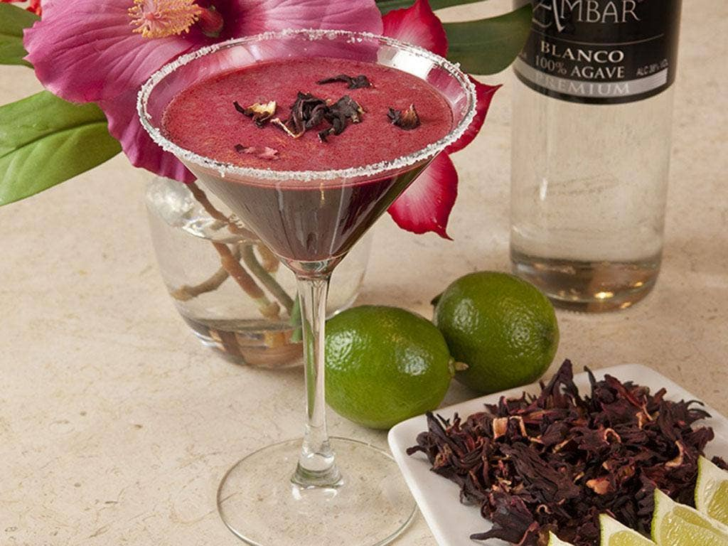 The complimentary hibiscus margarita cocktail is part of the food and flowers festival being held in London's Covent Garden