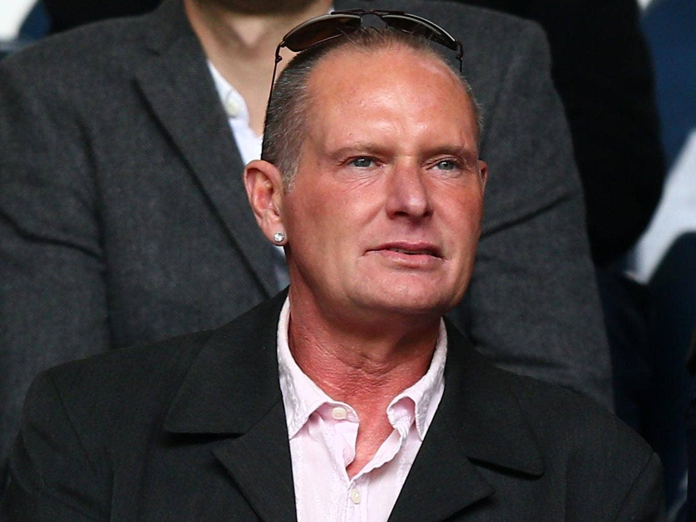 Gascoigne pictured at a football match in April last year