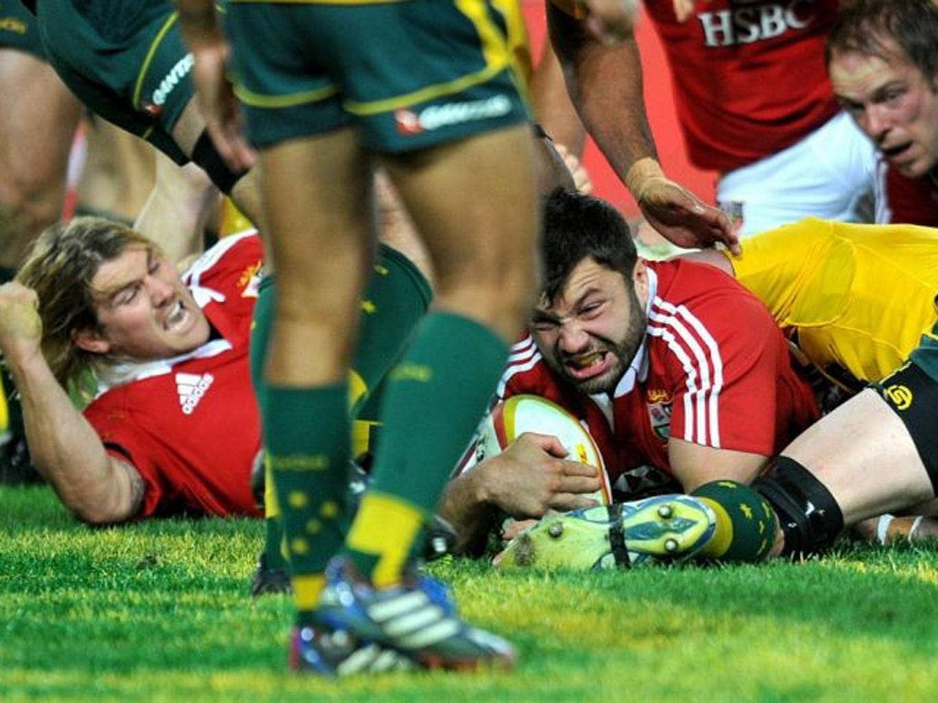 Alex Corbisiero scores against the Wallabies during their third Test match at ANZ Stadium in Sydney