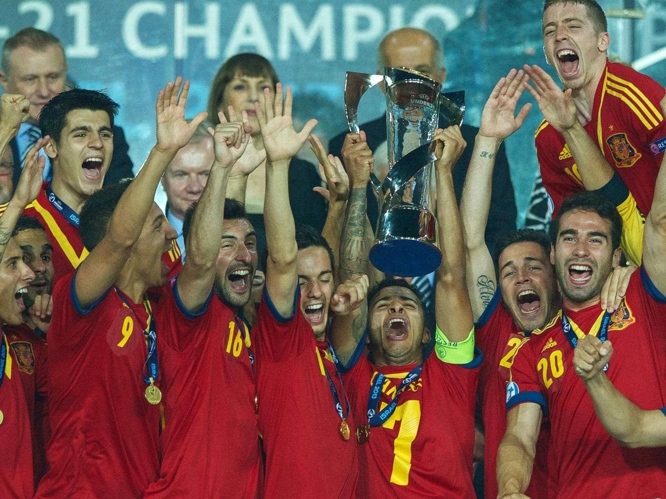 Reign in Spain: The Under-21s celebrate winning the European Championship, in which England flopped badly