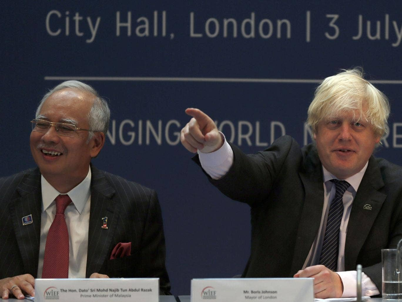 Johnson made the remark as he was speaking alongside the Malaysian prime minister Najib Razak, pictured left