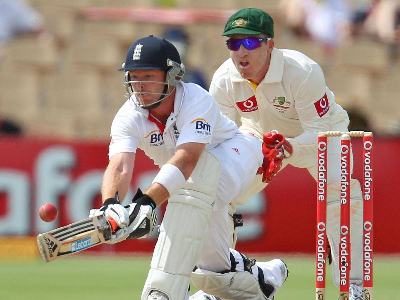 Ian Bell steers the ball away during the Adelaide Test in 2010
