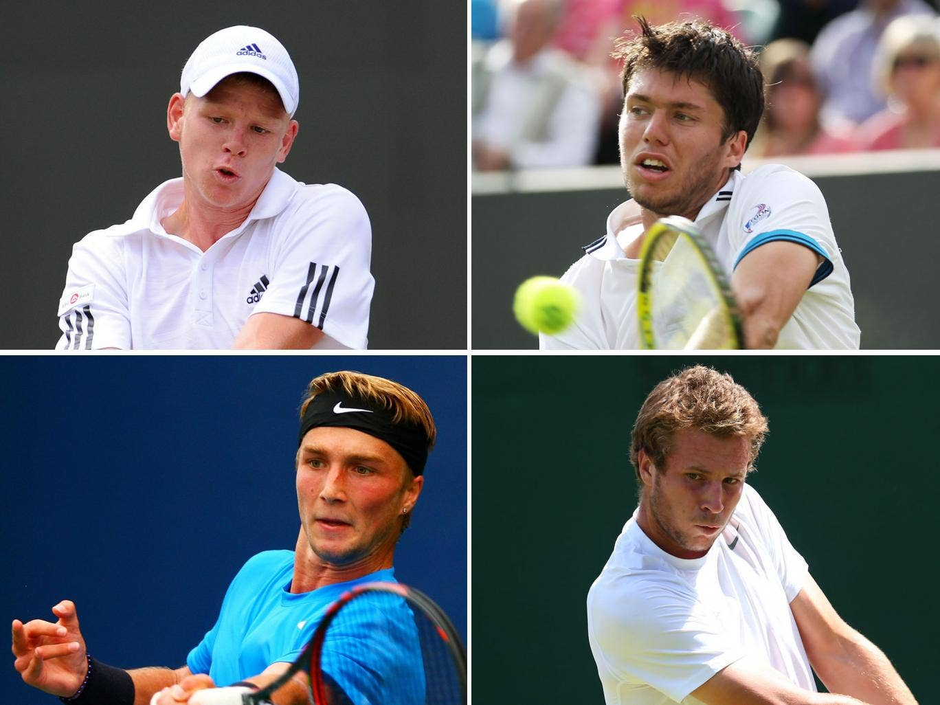 Clockwise from top left: Kyle Edmund, Oliver Golding, Luke Bambridge and Liam Broady