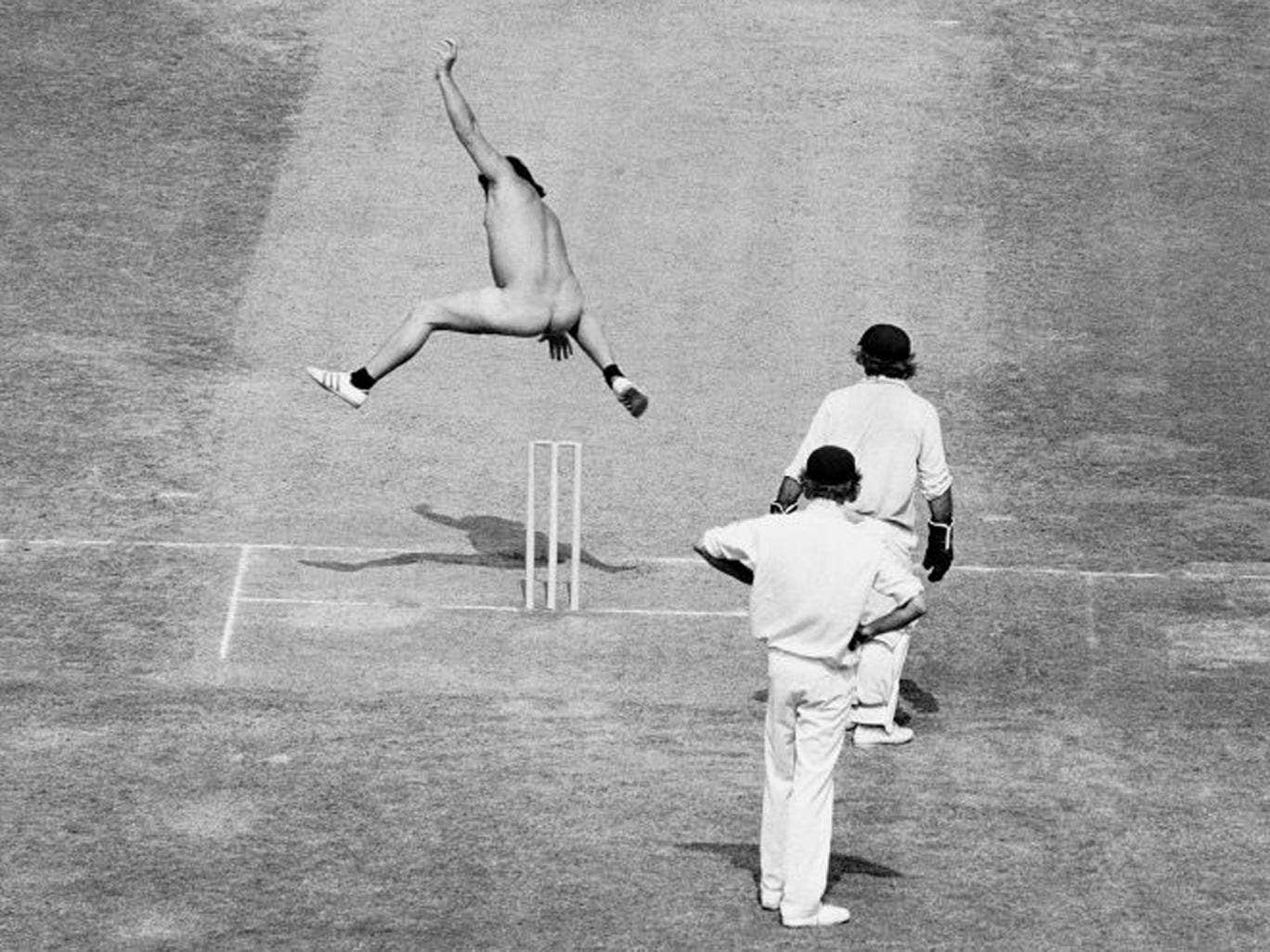 4 August 1975: Streaker Michael Angelow during Ashes Tests at Lords