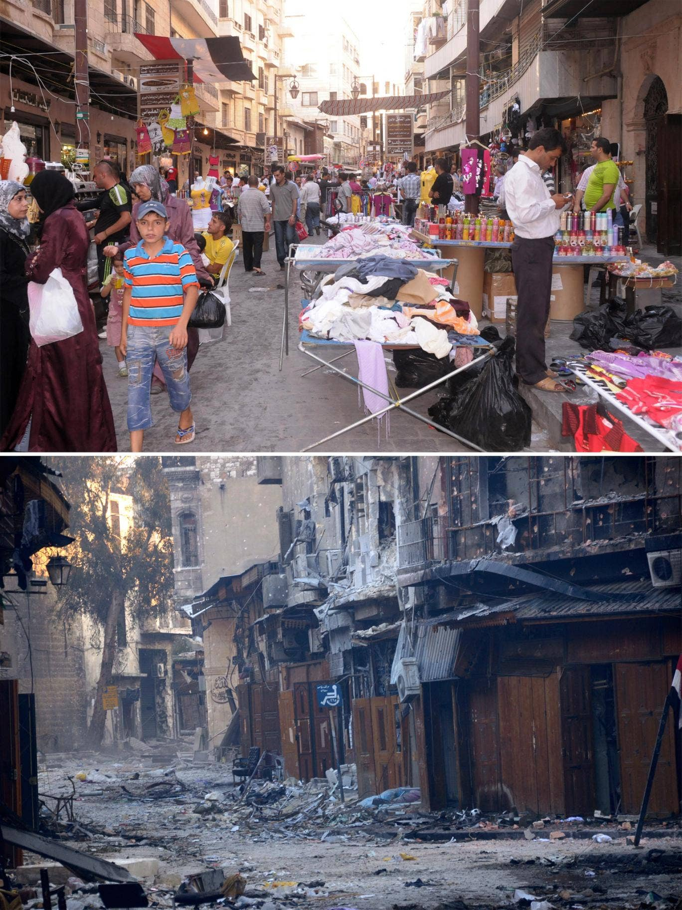 2011 - shops and stalls in the medieval souk area of Aleppo; 2013 - the old souk is now a scene of devastation