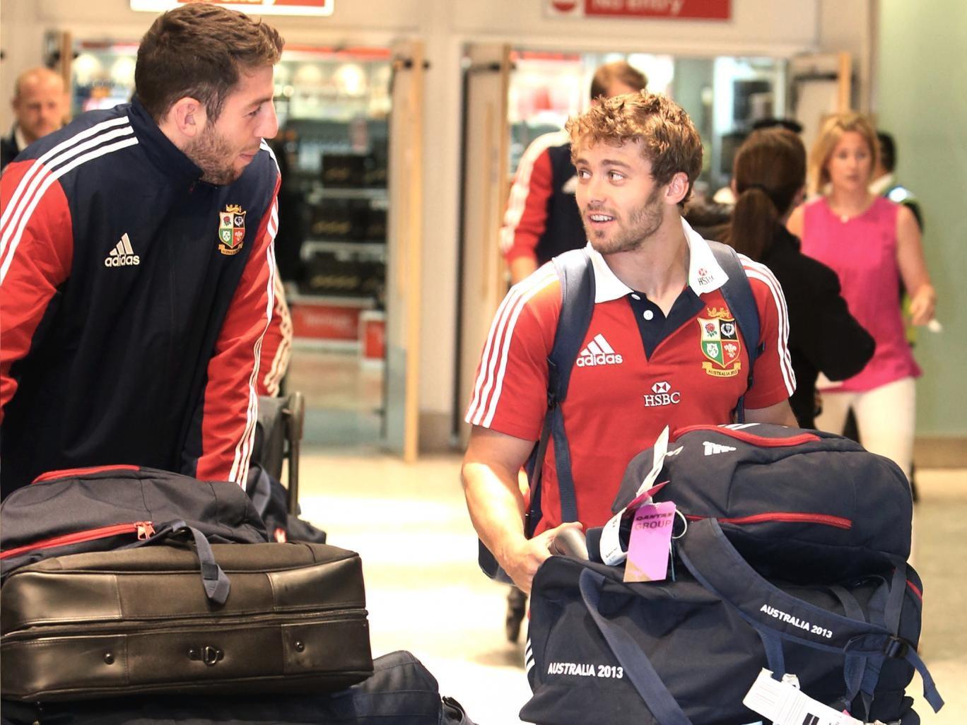Leigh Halfpenny (right) and Alex Cuthbert arrive at Heathrow