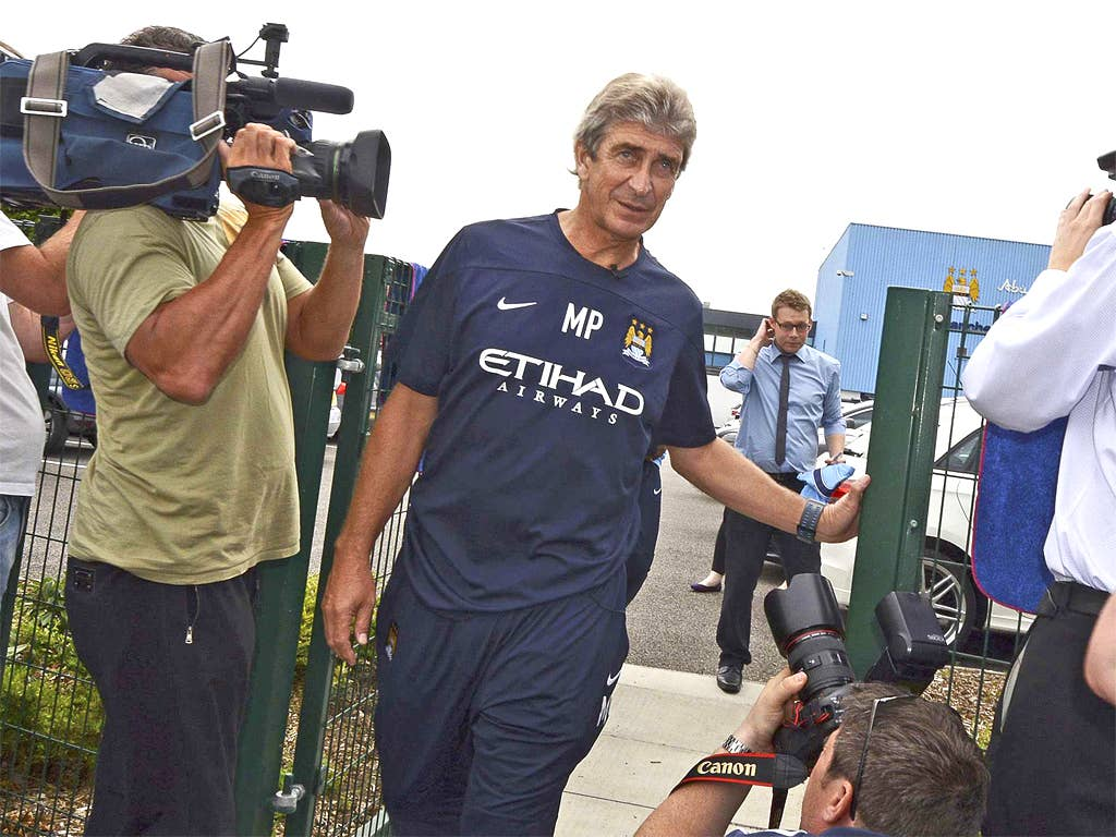 Manuel Pellegrini arrives at Carrington