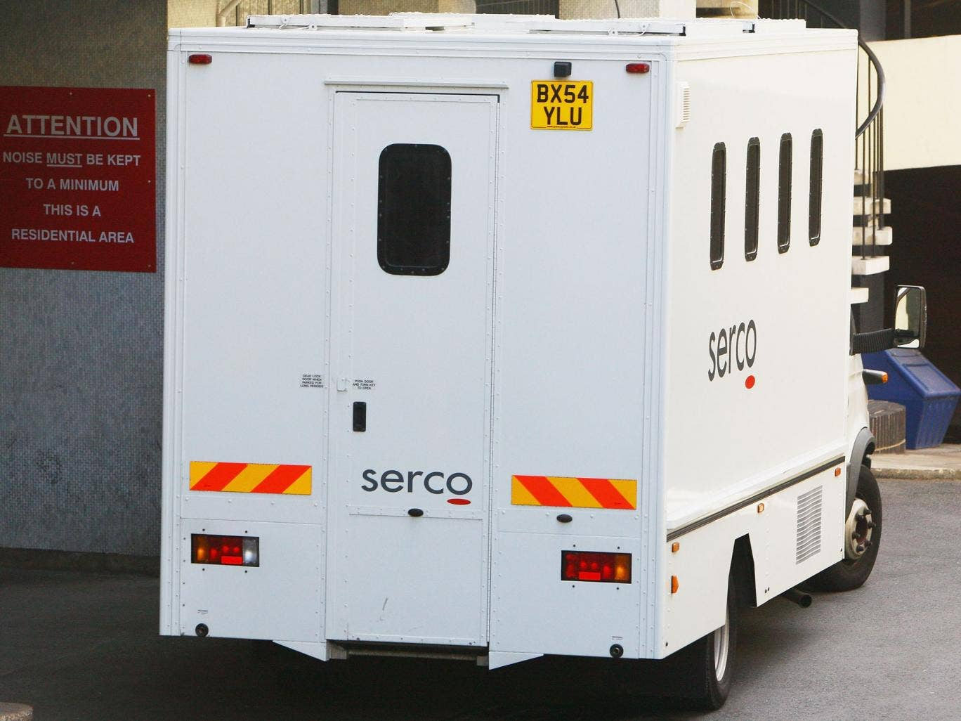 A Serco van used to transport defenders. Serco has also come under fire for overcharging taxpayers