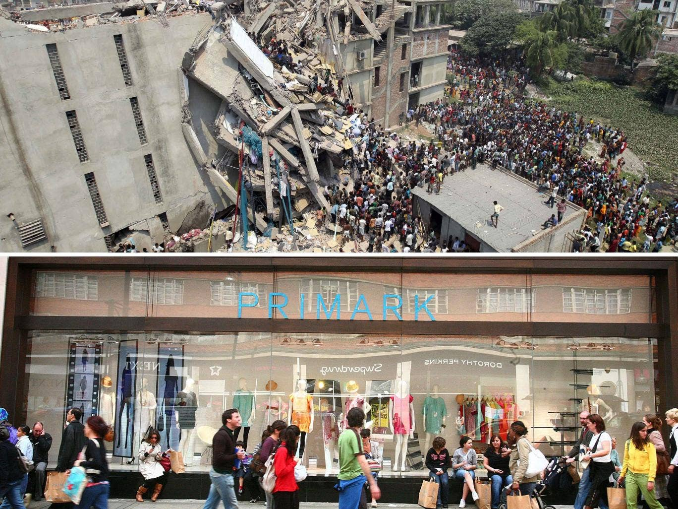 The ruins of the Bangladeshi factory which produced clothes for budget fashion chain Primark
