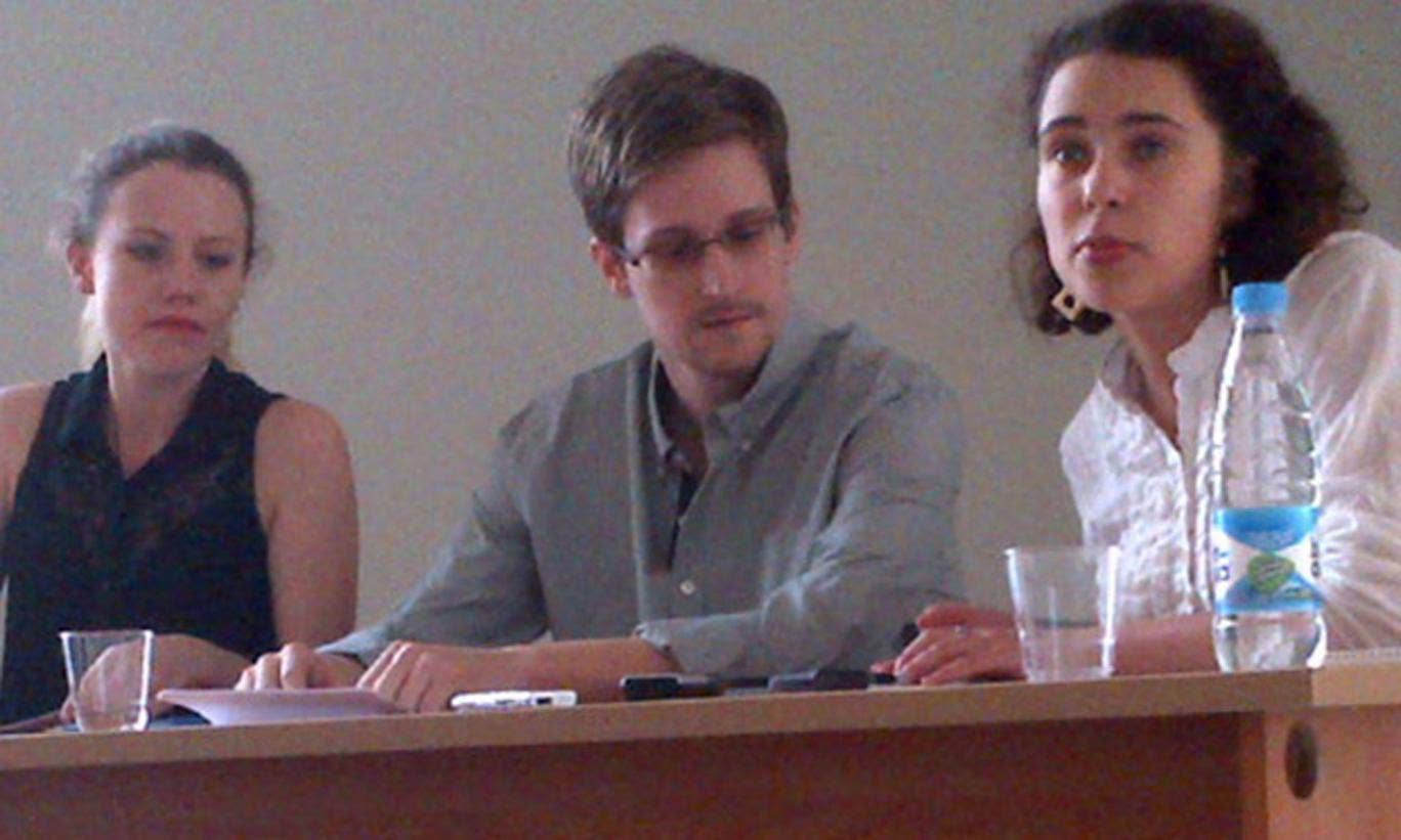 Edward Snowden at a meeting with human rights campaigners at Moscow's Sheremetyevo airport