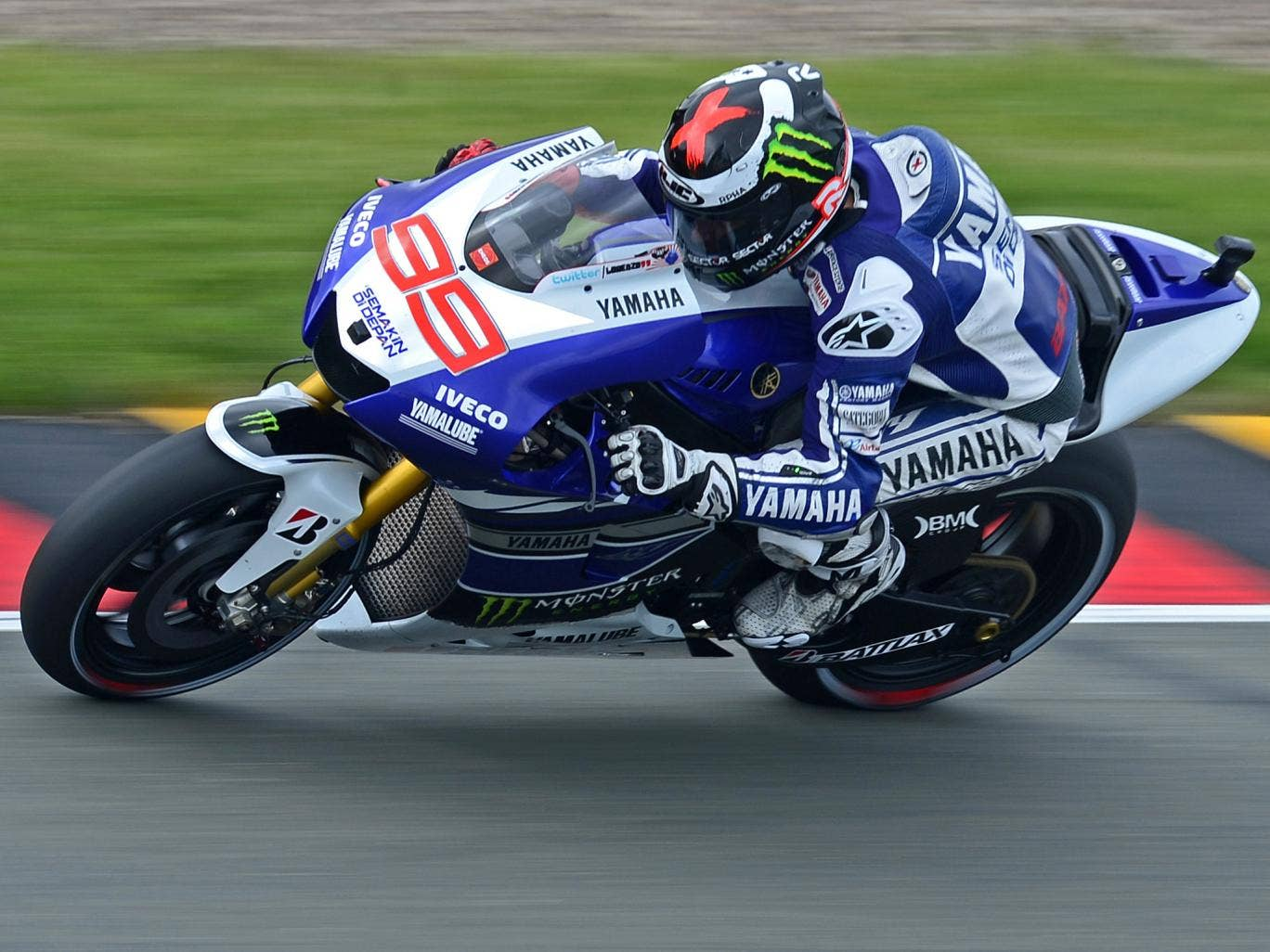 Jorge Lorenzo in action at the Sachsenring before he suffered his crash